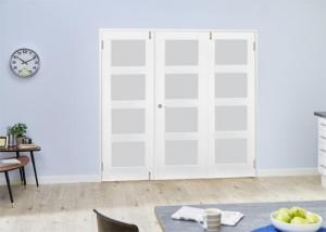 White 4L Frosted Folding Room Divider ( 3 x 610mm doors): French Doors with folding sidelights Image