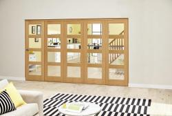 Oak Prefinished 4L Roomfold Deluxe ( 5 x 610mm doors): Interior Folding Door with Low Level Guide Rail Image