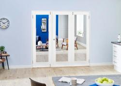 White P10 Folding Room Divider 7ft (2142mm): French Doors with folding sidelights Image