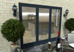 2700mm Grey Aluminium Bifold Doors - CLIMADOOR: 70mm Thermally Broken, Double Glazed Door Set Image
