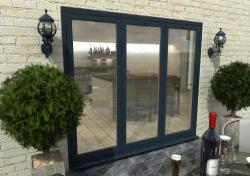 2400mm Grey Aluminium Bifold Doors - CLIMADOOR: 70mm Thermally Broken, Double Glazed Door Set Image