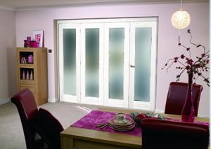 White P10 Room fold - Frosted Glass, Interior Bifold Doors Image