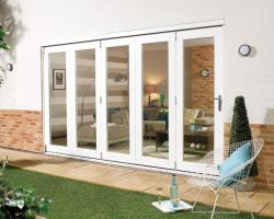 NUVU 3600mm (12ft) WHITE Folding Patio Door: 44mm Fully Finished Doorset Image