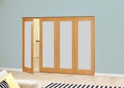 Prefinished Frosted P10 Oak Roomfold Deluxe (4 x 762mm doors): Interior Folding Door with Low Level Guide Rail Image