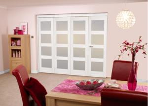 White 4L Shaker Roomfold - Frosted, Interior Bifold Doors Image