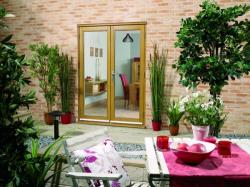 NUVU 1500mm (5ft) OAK French Doors: 44mm Unfinished French Doorset Image