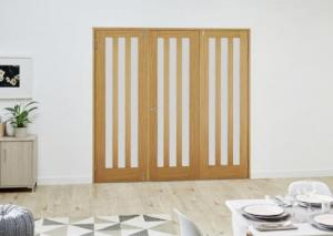 Aston Oak Frosted Folding Room Divider ( 3 x 686mm doors): French Doors with folding sidelights Image