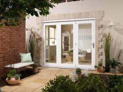 NUVU 1800mm (6ft) WHITE Folding Patio Door: 44mm Fully Finished Doorset Image