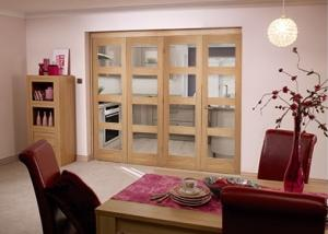 Oak Pre finished 4 Light Bifold door ( 4 x 2