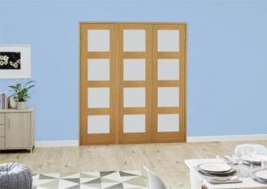 Oak 4L Frosted Folding Room Divider ( 3 x 686mm doors): French Doors with folding sidelights Image