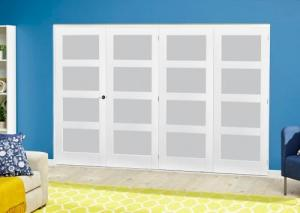 White 4L Frosted Roomfold Deluxe ( 4 x 762mm doors ),  Image