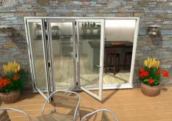 3000mm White Aluminium Bifold Doors - CLIMADOOR: 70mm Thermally Broken, Double Glazed Door Set Image