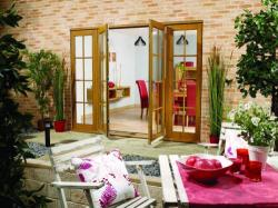 2100mm (7ft) OAK 8 Lite - Prefinished - 1500 Pair + 2 x 300mm Sidelights: 44mm Fully Finished Doorsets Image