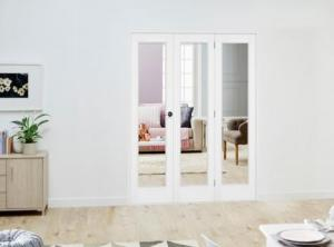 Slimline White P10 Roomfold Deluxe ( 3 x 419mm doors ): Interior Folding Door with Low Level Guide Rail Image