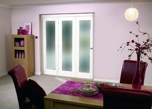 "White Bifold 3 door system ( 3 x 27"" doors ) Frosted.,  Image"