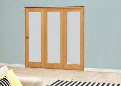 Prefinished Frosted P10 Oak Roomfold Deluxe (3 x 686mm doors): Interior Folding Door with Low Level Guide Rail Image
