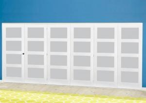 White 4L Frosted Roomfold Deluxe ( 5 + 1 x 686mm doors ): Interior Folding Door with Low Level Guide Rail Image