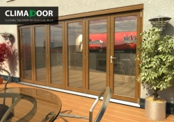 Climadoor Elite Oak Bi fold door 4200mm: 54mm fully finished Folding doorset Image