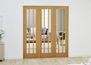 Lincoln Oak Folding Room Divider ( 3 x 610mm Doors): French Doors with folding sidelights Image