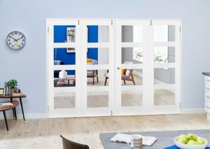 White 4L French Folding Room Divider - Clear, Interior Bifold Doors Image