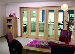 "Glazed OAK - 6 door roomfold (3 + 3 x 27"" doors): Internal Roomfold System Image"