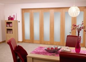 Frosted glazed Oak - 6 door Roomfold (5+1 x 2