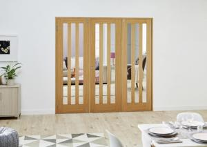 Aston Oak French Folding Room Divider - Clear, Interior Bifold Doors Image