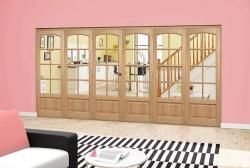 Worthing Oak Roomfold Deluxe (3 + 3 x 610mm doors): Interior Folding Door with Low Level Guide Rail Image