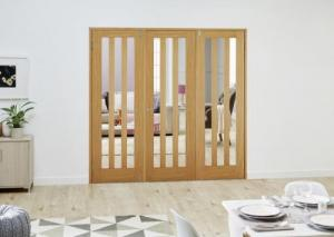 Aston Oak Folding Room Divider ( 3 x 686mm doors): French Doors with folding sidelights Image