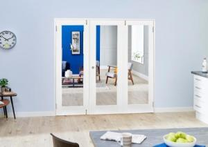White P10 Folding Room Divider ( 3 x 610mm Doors): French Doors with folding sidelights Image