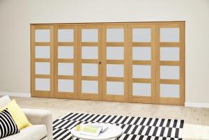 Oak 4L Roomfold Deluxe - Frosted Glass, Interior Bifold Doors Image