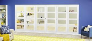 White 4L Roomfold Deluxe - Clear Glass, Interior Bifold Doors Image