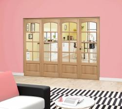 Worthing Oak 8L Roomfold Deluxe - Clear glass, Interior Bifold Doors Image