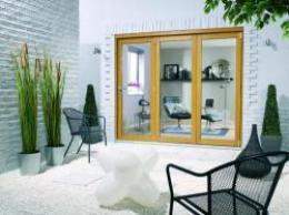 Oak Folding Sliding Doors - Unfinished, Exterior Bifold Patio Doors Image