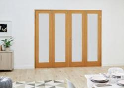 Oak French Folding Room Divider - Frosted: French Doors with folding sidelights Image