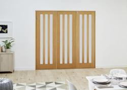 Aston Oak French Folding Room Divider - Frosted: French Doors with folding sidelights Image