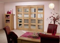 OAK 4L Shaker Roomfold - Unfinished: Unfinished Interior Bifold Door Image