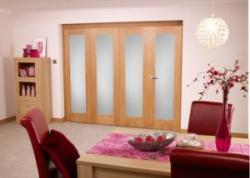 Glazed Oak Roomfold - Frosted unfinished: Unfinished Bi Fold Door Image