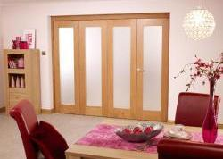 Glazed oak Roomfold - PREFINISHED Frosted glass: Internal Folding Sliding Doors Image