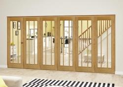 Lincoln Oak Roomfold Deluxe - Clear Glass: Interior Folding Door with Low Level Guide Rail Image