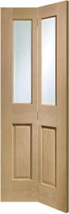 Malton Oak Bi-Fold - Clear Bevelled Glass:  Image
