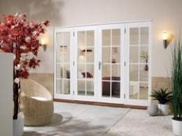 Softwood WHITE French Doors - NUVU 8 Lite, Exterior French Patio Doors Image