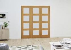 PREFINISHED Oak 4L French Folding Room Divider - Frosted: French Doors with folding sidelights Image
