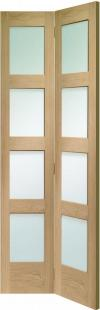 Shaker 4 light Oak Bi-Fold - Clear Glass:  Image