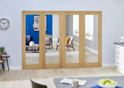 Oak French Folding Room Divider - Clear: French Doors with folding sidelights Image