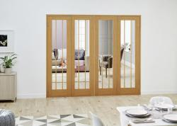 Lincoln Oak French Folding Room Divider: French Doors with folding sidelights Image