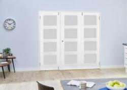 White 4L French Folding Room Divider - Frosted: French Doors with folding sidelights Image
