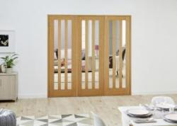 Aston Oak French Folding Room Divider - Clear: French Doors with folding sidelights Image