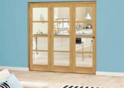 Prefinished Oslo Oak Roomfold Deluxe - Clear Glass: Interior Folding Door with Low Level Guide Rail Image